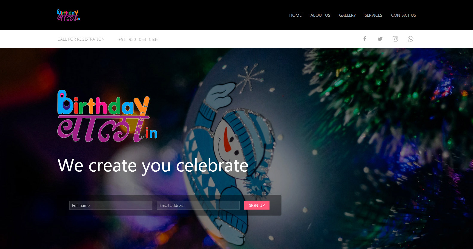 Screenshot from Event Management Demo Website homepage
