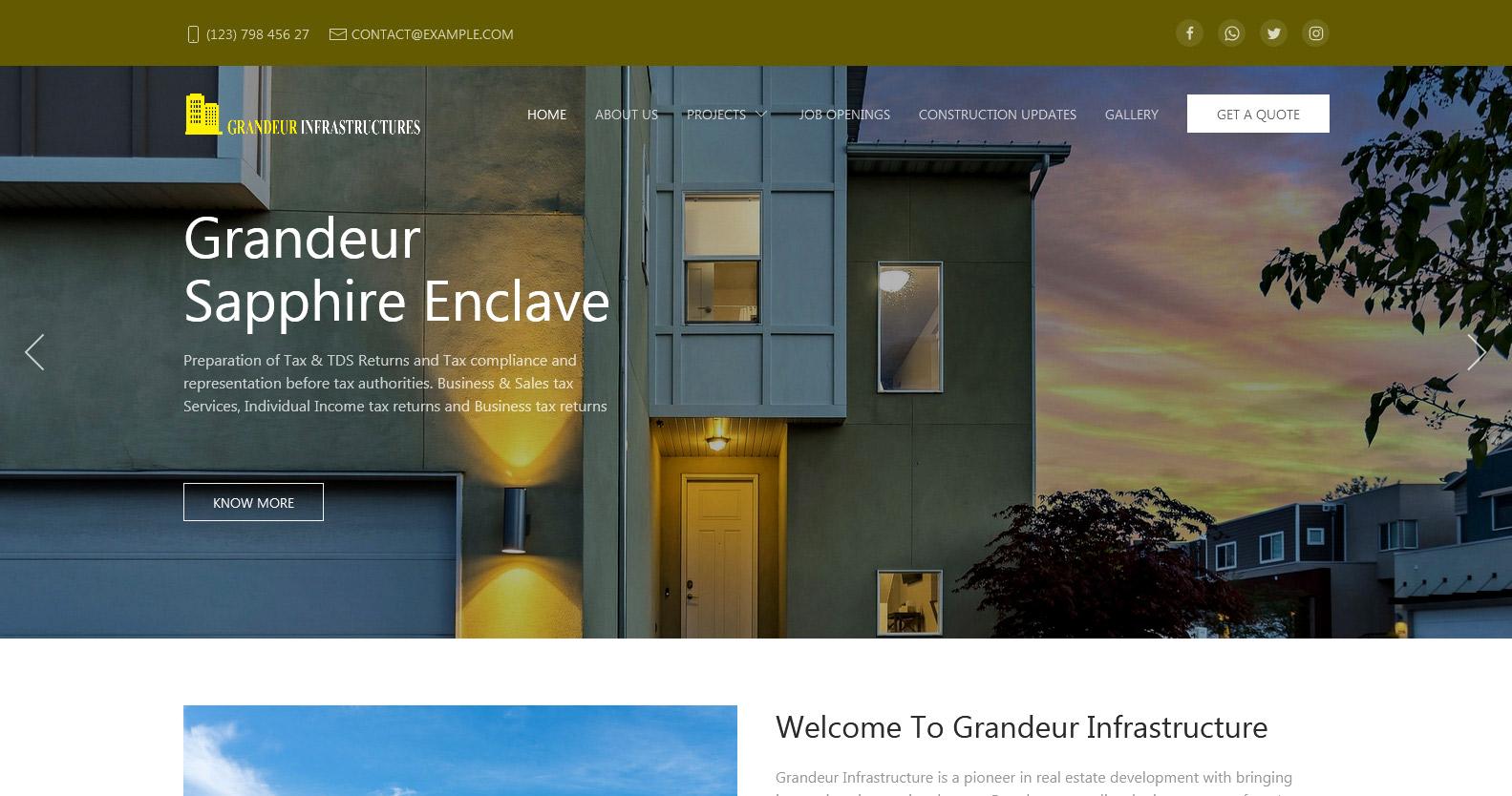 Demo website for Real Estate & Construction