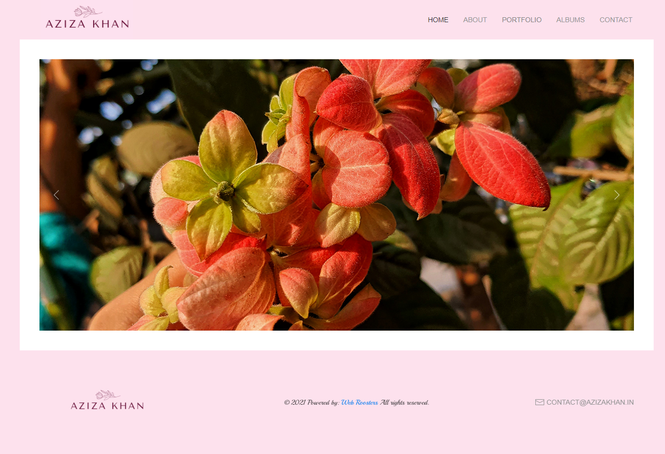 Homepage screenshot of Aziza Khan Blog