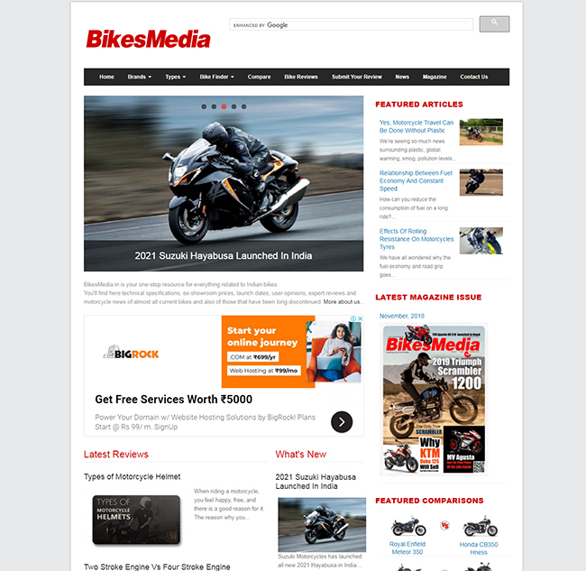 Screenshot from Automobile Website BikesMedia homepage