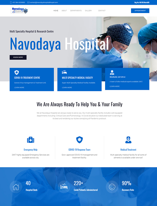 Live website for Hospital and nursing Homes