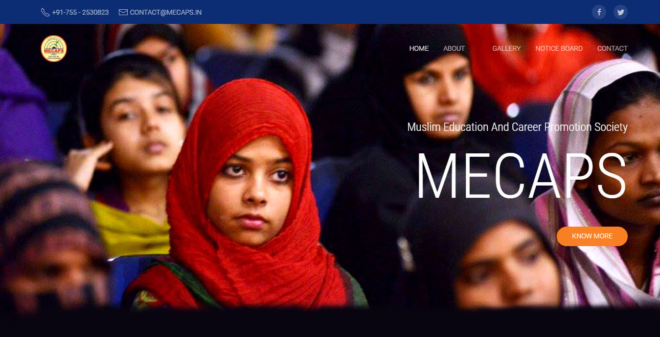Cover page of screenshot of MECAPS website