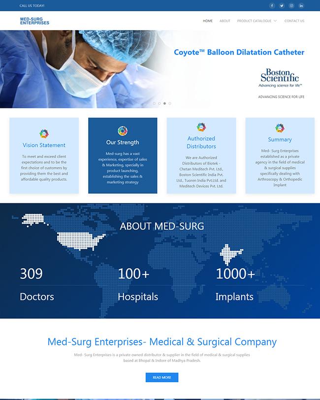 Front page cover of Med Surg Enterprises website