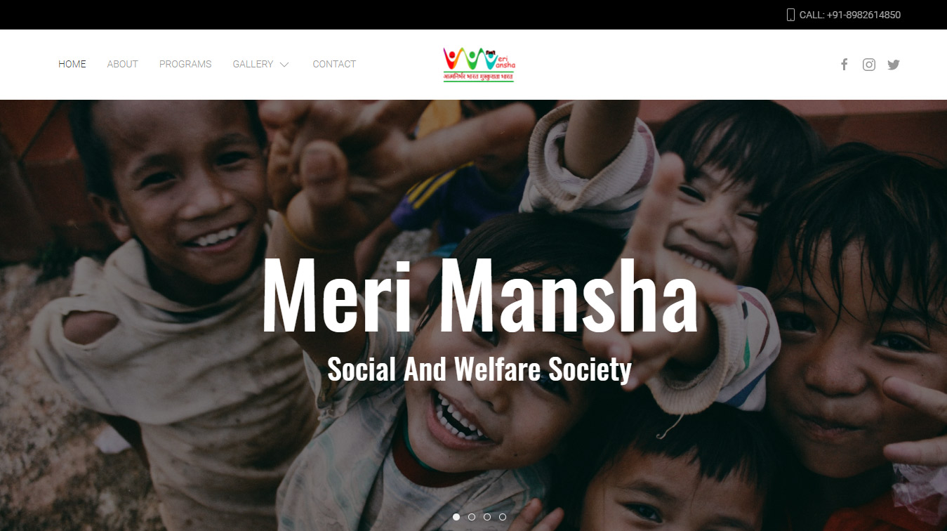 Front page cover of Meri Mansha NGO website