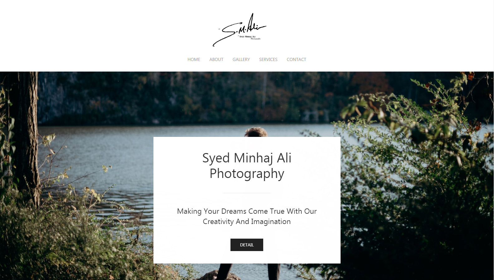 Screenshot from Photography Demo Website homepage