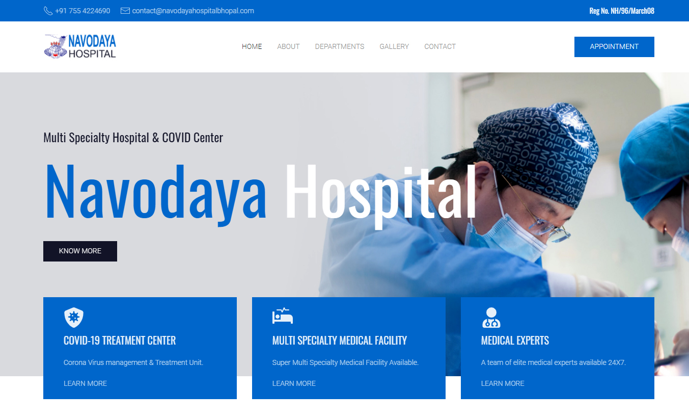 Screenshot from Navodaya Hospital Bhopal homepage