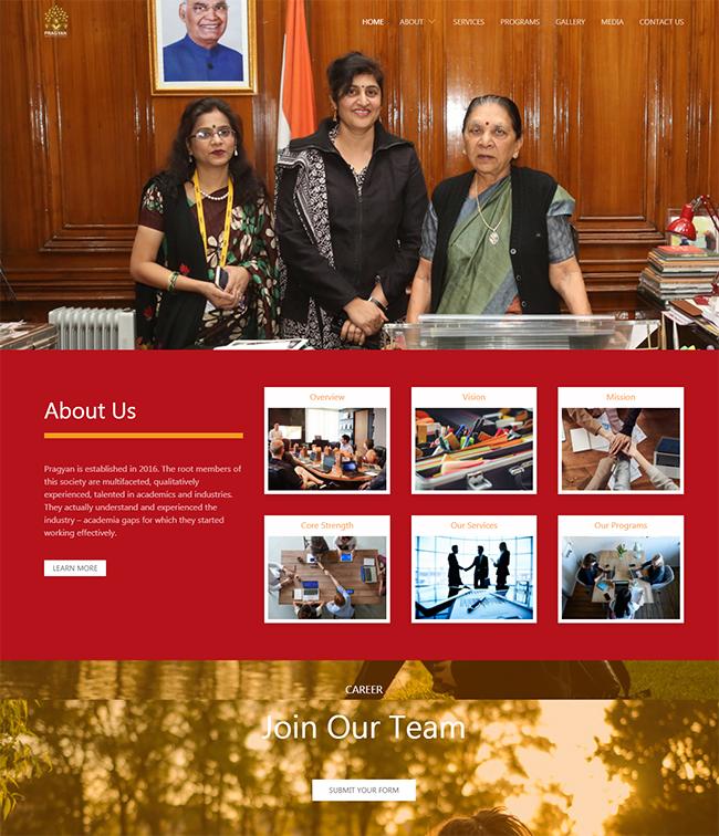 Screenshot from NGO Website Pragyan homepage