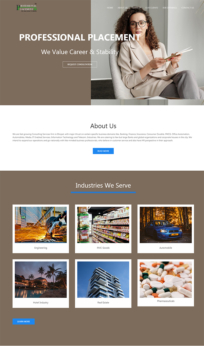 Screenshot from Placement Website homepage