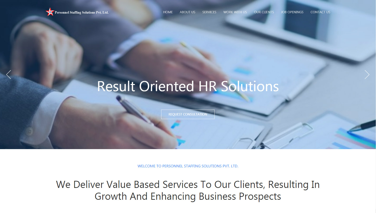 Screenshot from Placement Agency Demo Website homepage