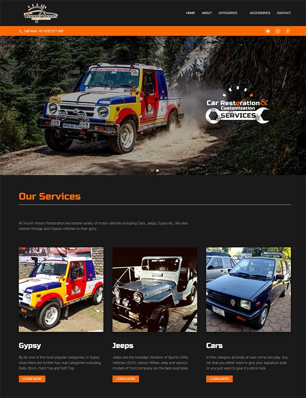 Screenshot from Vroom Vroom Restoration website homepage